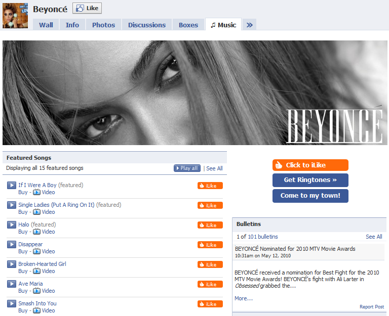 Beyonce Facebook Fan Page