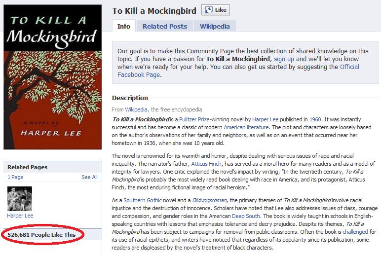 To Kill a Mockingbird Facebok Fan Page